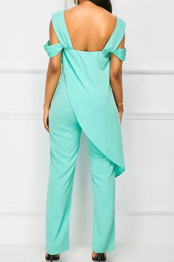 Solid Colour Suspender Irregular Jumpsuit