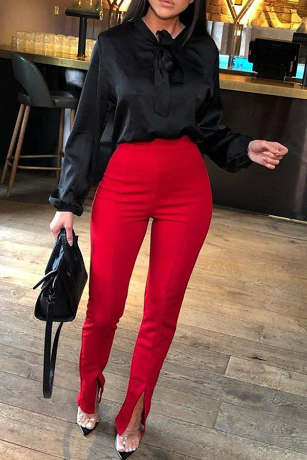Solid Colour High Waistband Hip-Wrapped Trousers