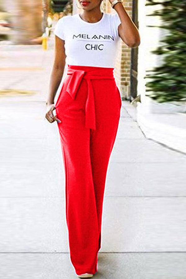 Solid Color Trumpet Wide-Legged Trousers