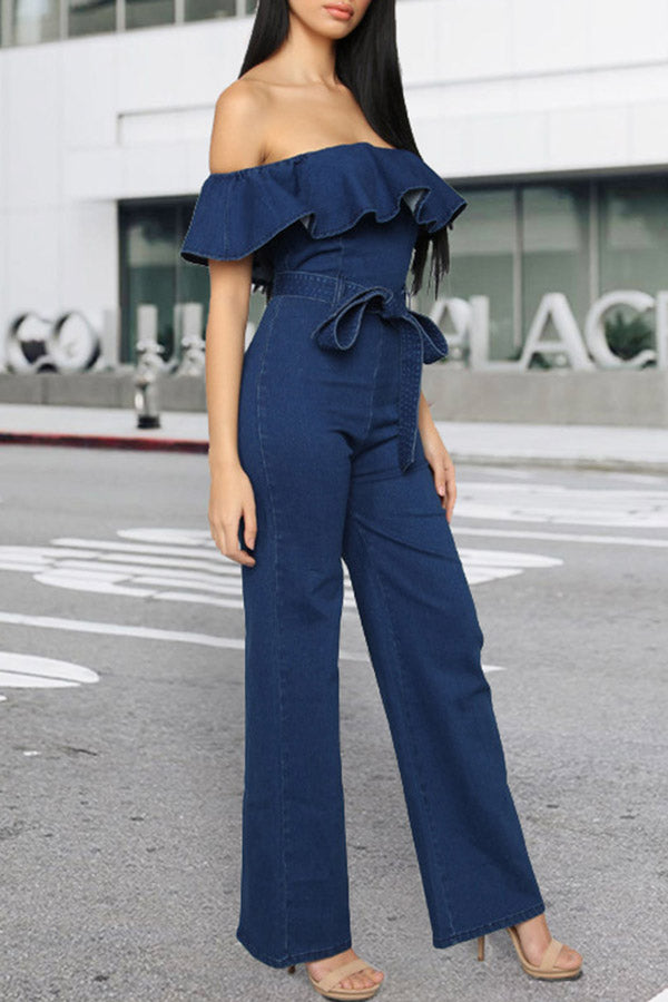 Lotus-Leaf-Edg Hip-Wrapped Jeans Jumpsuit