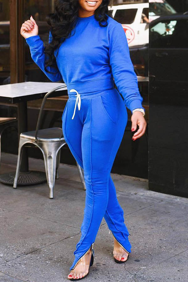 Solid Color Zipper Suit
