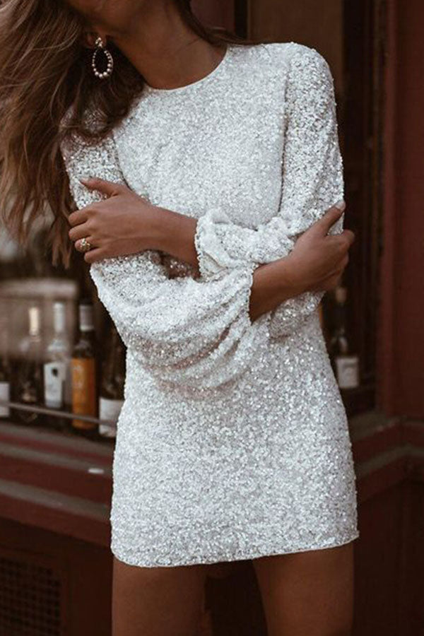 Round Neck Long Sleeve Sequin Dress