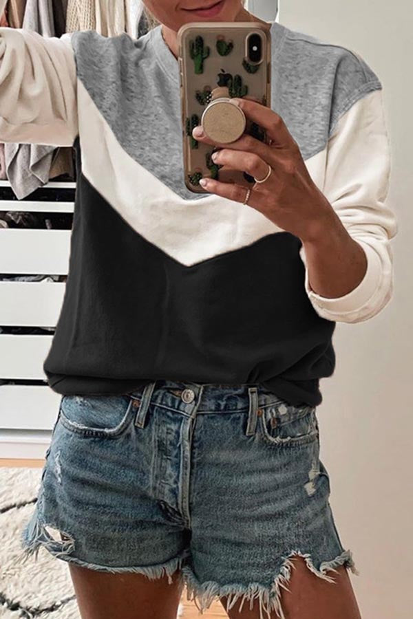 Collision Color Long Sleeve Sweater