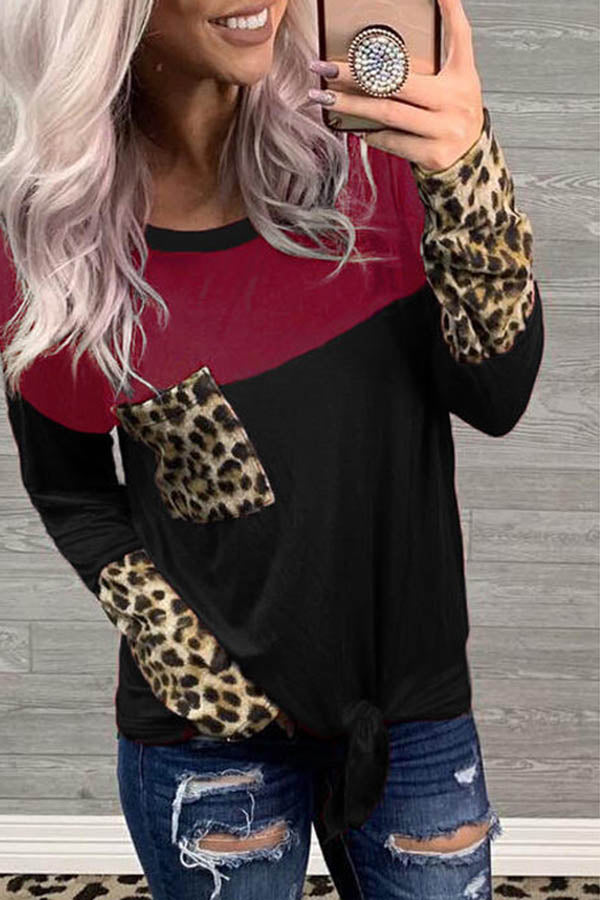 Leopard Stitched Sleeve T-Shirt