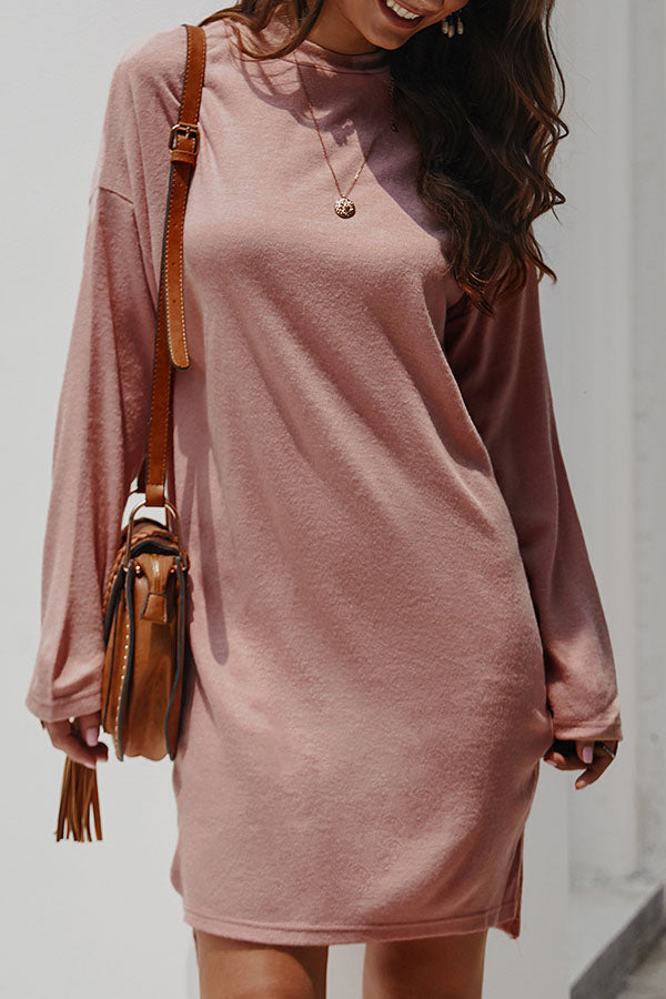 Loose Knit High Neck Split Dress