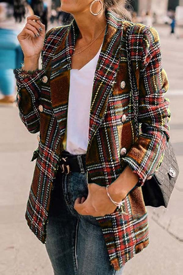 Plaid Print Long Sleeve Coat
