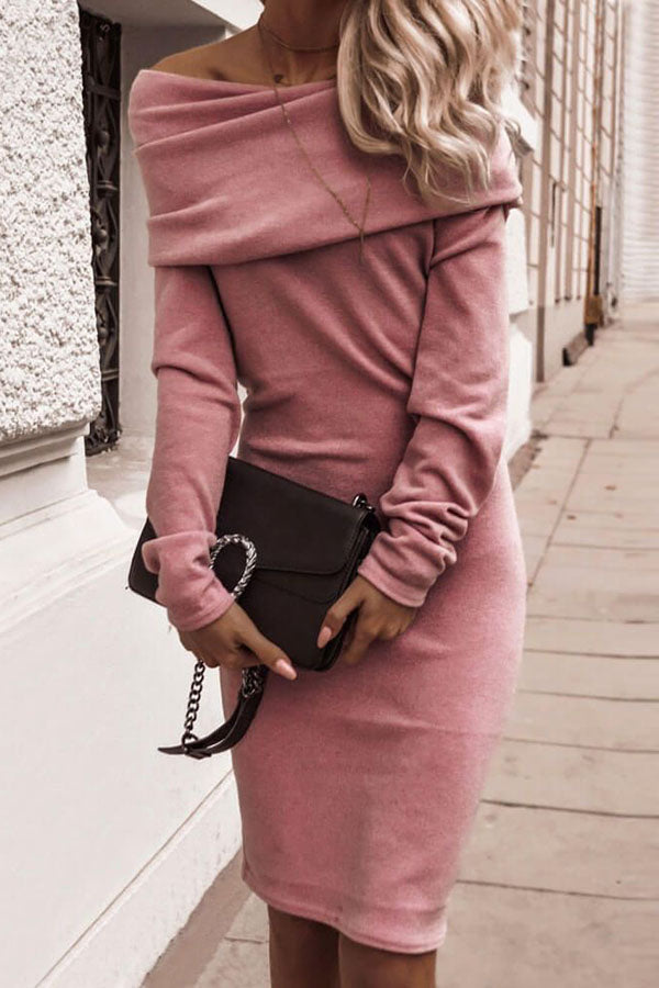 Off Shoulder Solid Color Long Sleeve Dress