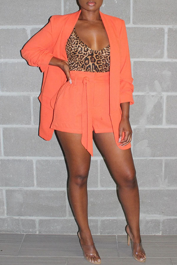 Solid Color Suit Strappy Shorts Set
