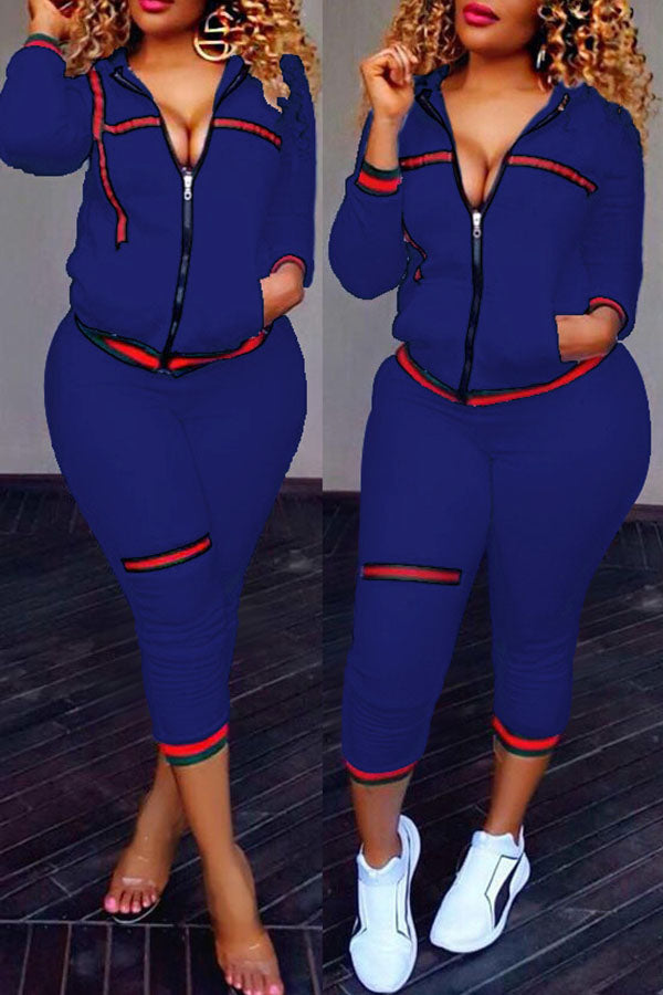 Ribbon Splicing Sports Pants Suit