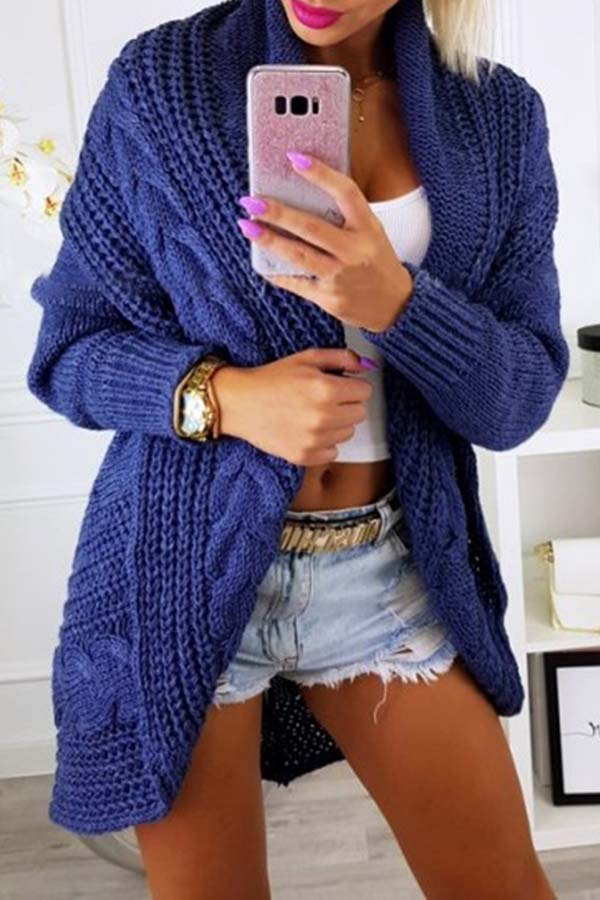 Solid Colour Loose Knitted Cardigan