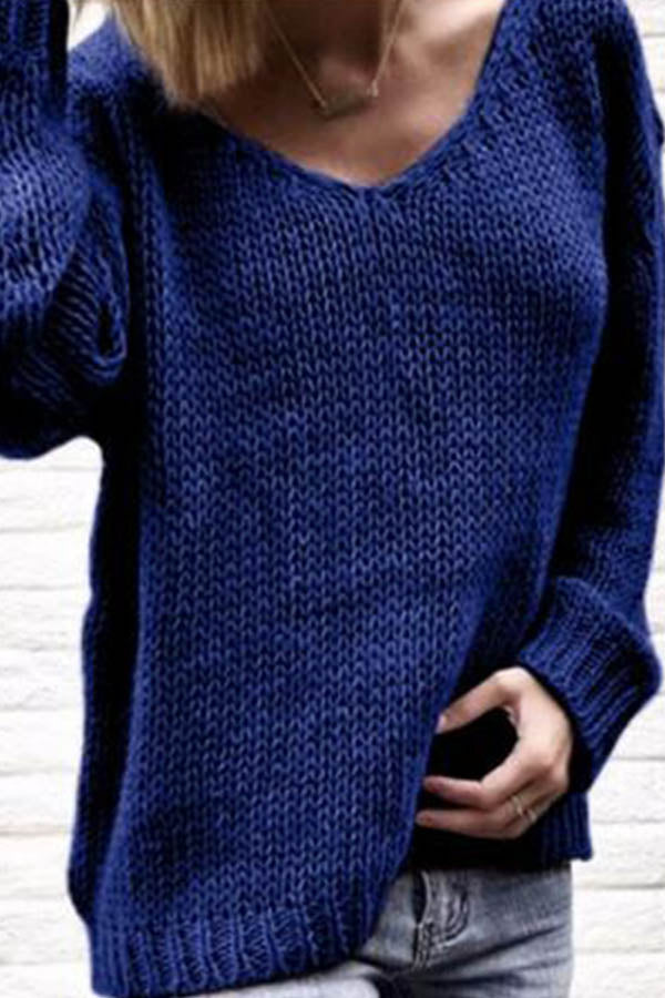 V-Collar Knitted Sweater