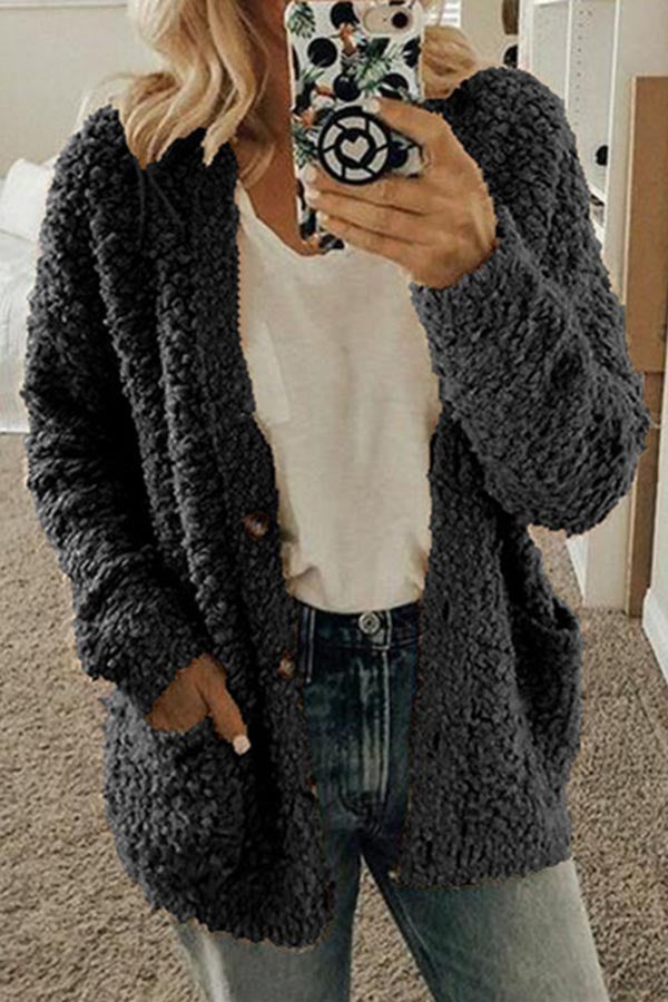 Solid Color Pocket Fur Coat