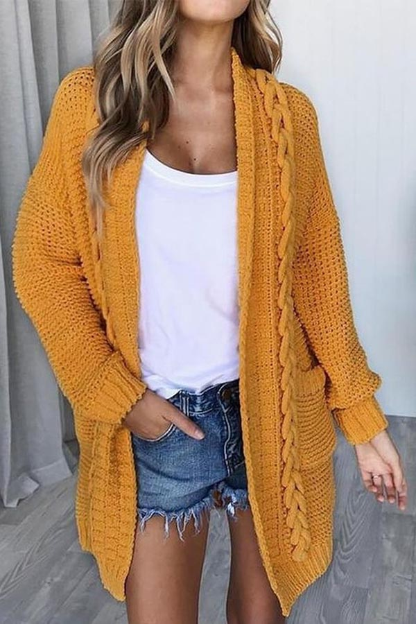 Solid Color Button Long Sleeve Sweater Cardigan