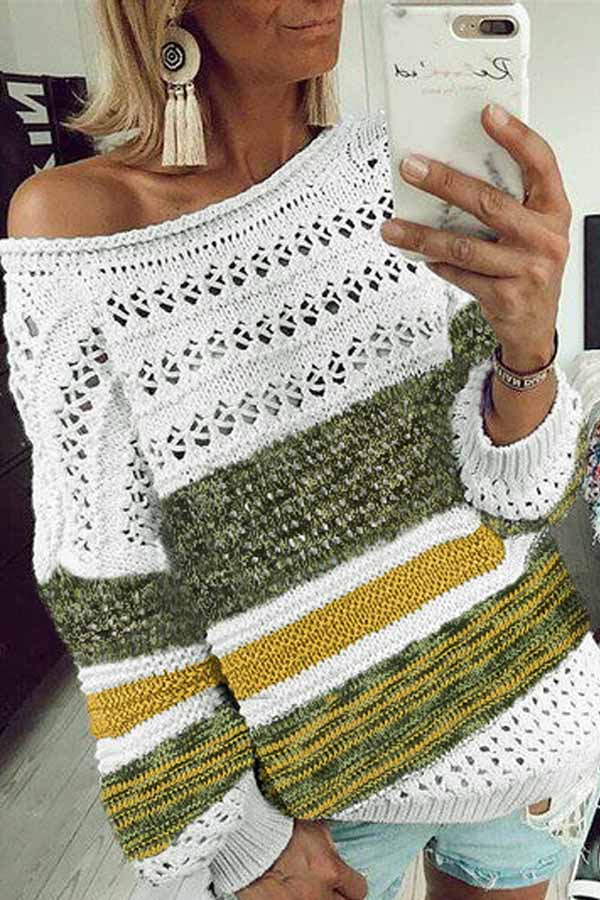 Printed Round Color Knitted Sweater