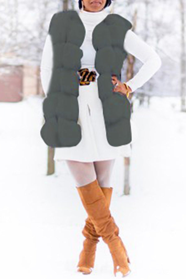 Solid Color Fur Sleeveless Coat