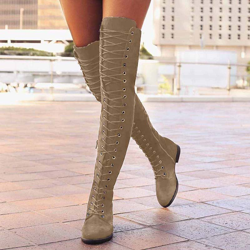 Strapped Knee Fat-Soled Boots