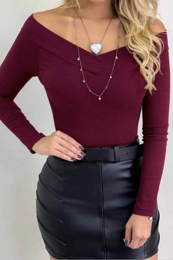 V-Collar Long-Sleeved Solid Color Top