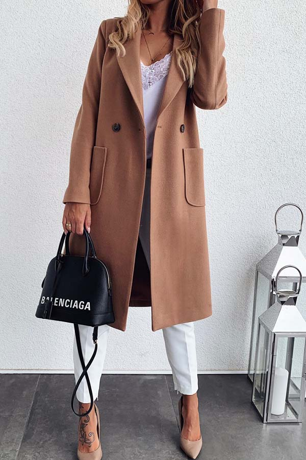 Solid Color Lapel Pocket Coat