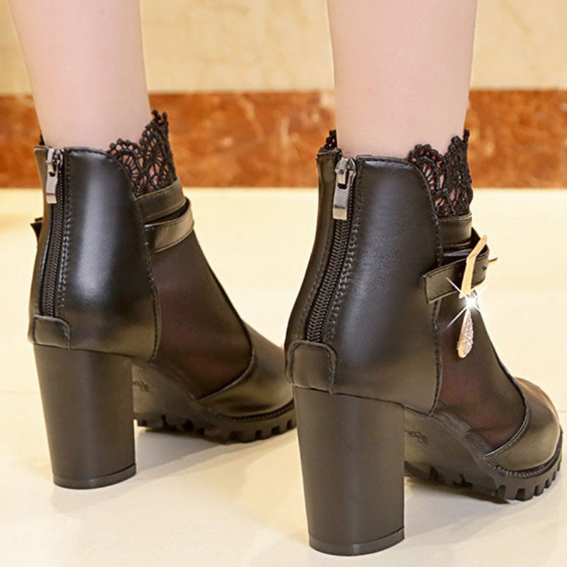 Mesh Hollow Middle Heel Boots
