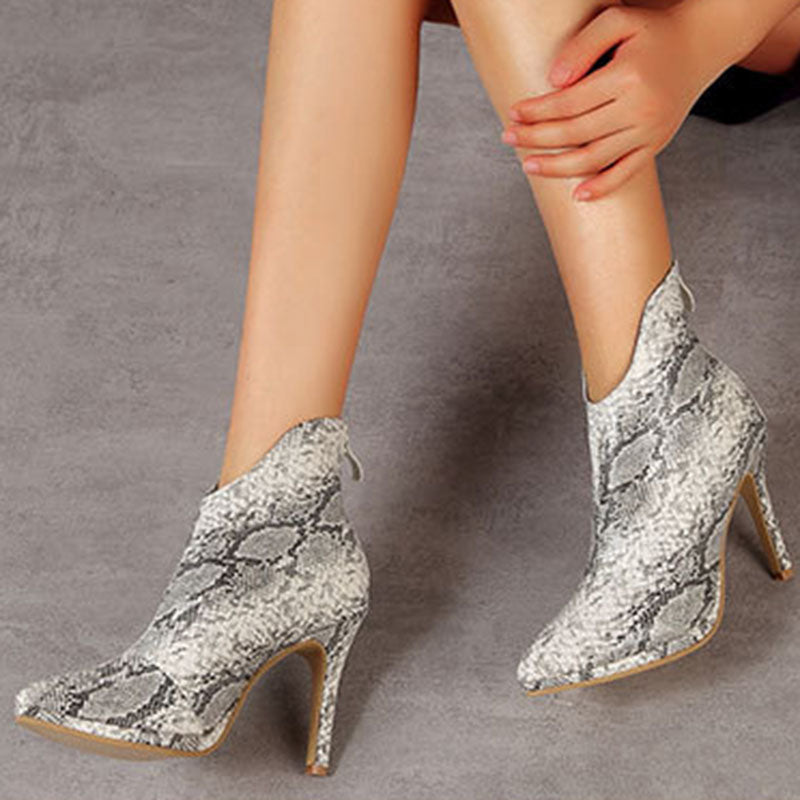 Snake Skin Print Pointed Boots