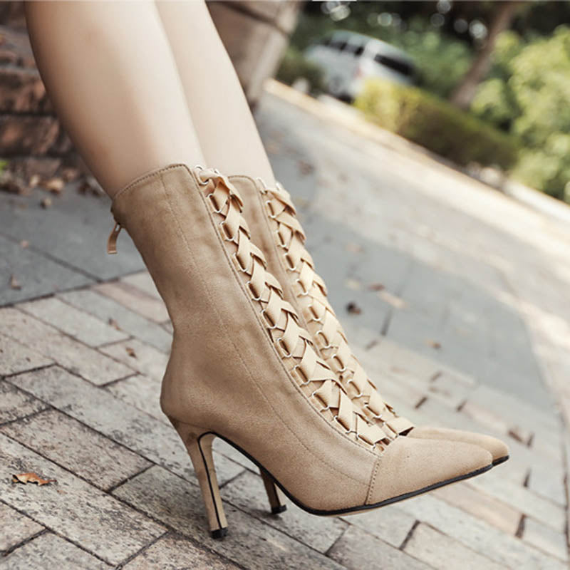 Pointy Lace-Up Boots