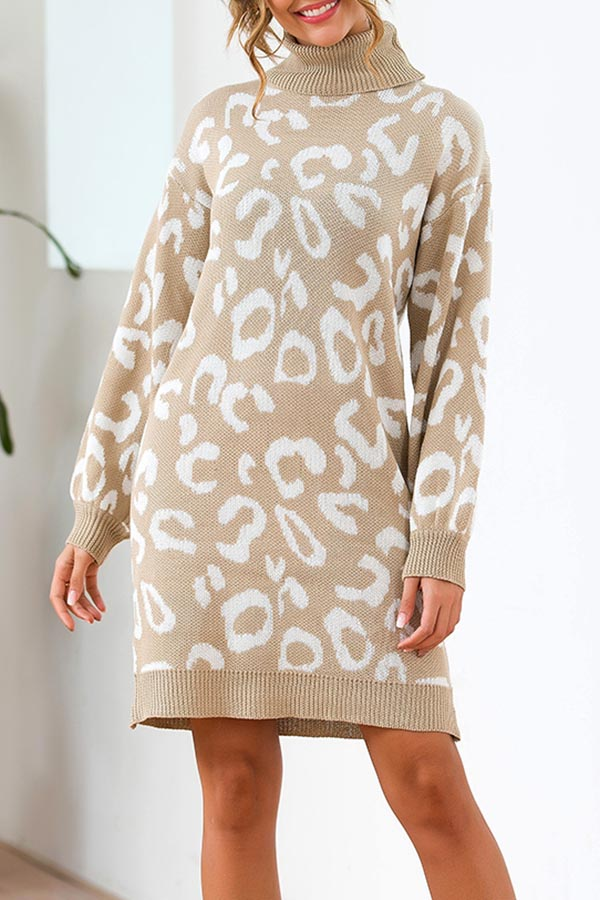 Leopard Loose Knit Sweater Dress