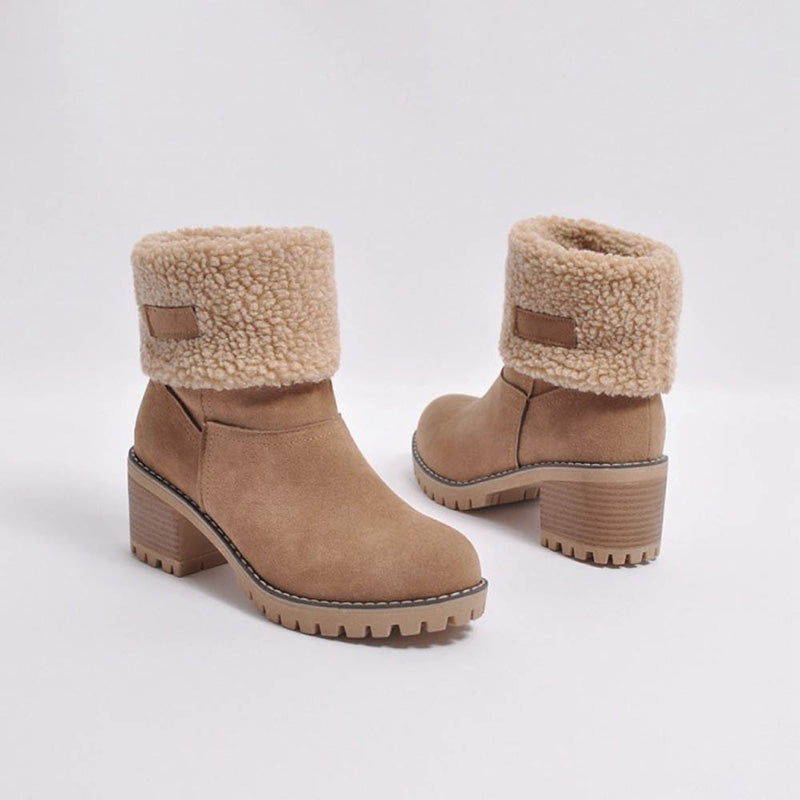 Mid Barrel Thick Heel Suede Snow Boots
