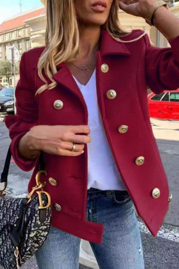 Solid Color Double Breasted Coat