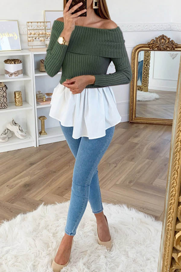Off Shoulder Long Sleeve Splicing Top