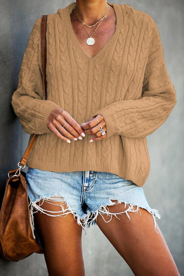 Loose V-Neck Cap Sweater