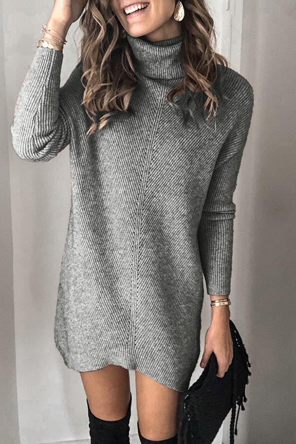 High Neck Pullover Long Sleeve Sweater