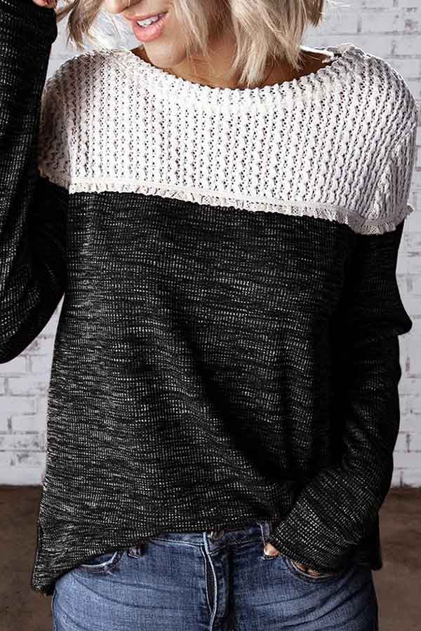 Hollow Splicing Pullover Sweater