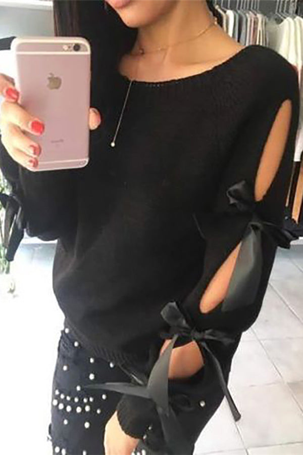 Round Color Lace-Up Sweater