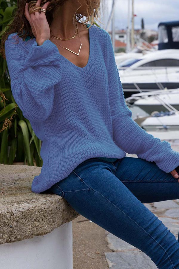 V-Neck Loose Long Sleeve Sweater
