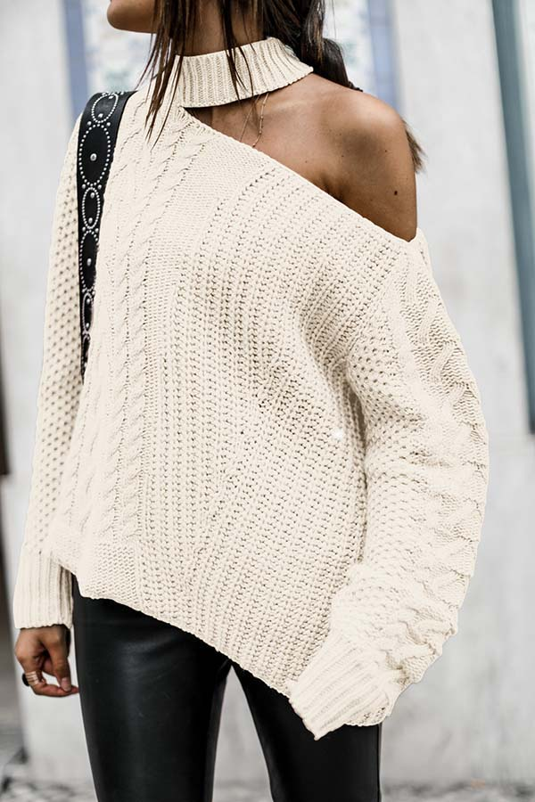 Off Shoulder Halter Knit Sweater