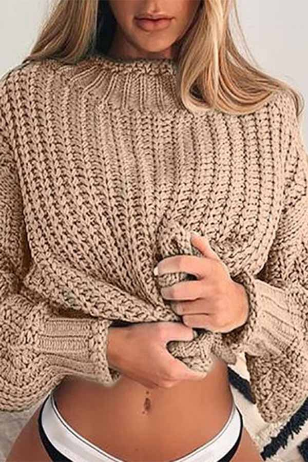 Solid Color Hollow Sweater
