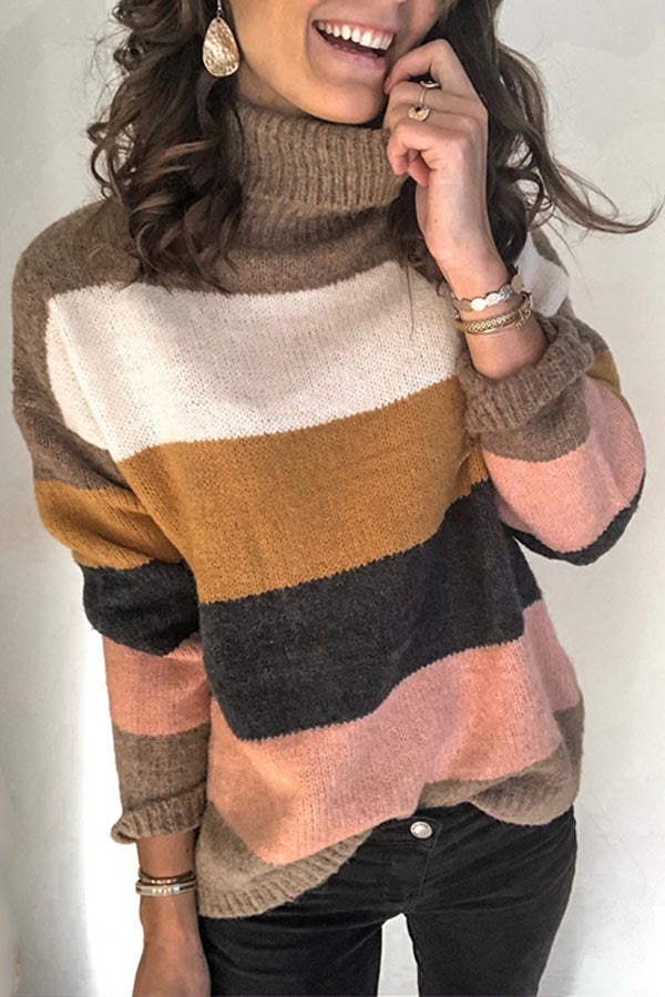 Striped Turtleneck Knit Pullover Sweater