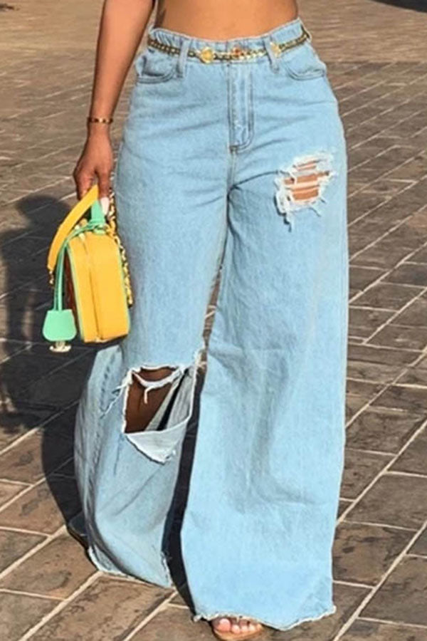 Fringed Hole Broad-Legged Jeans