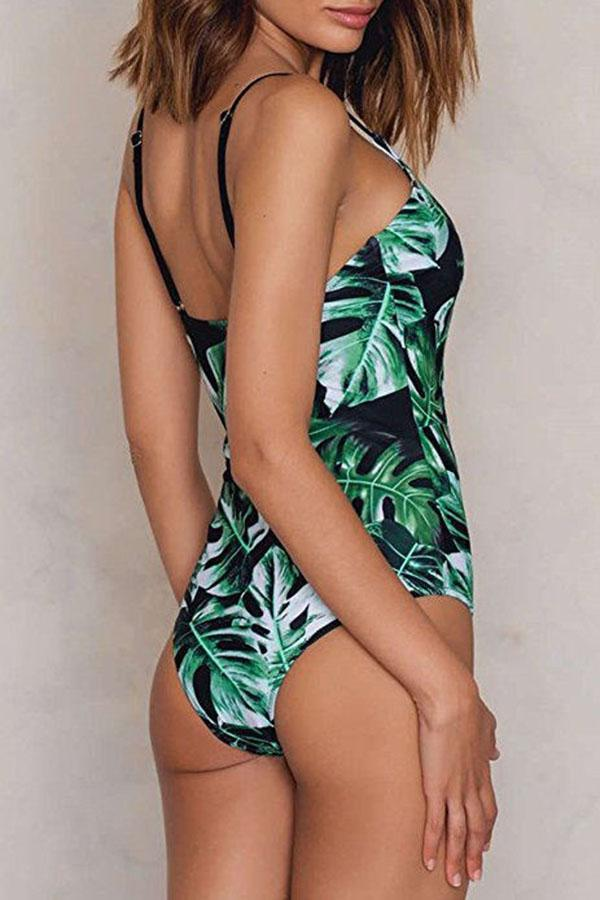 Leaf Print Swimsuit