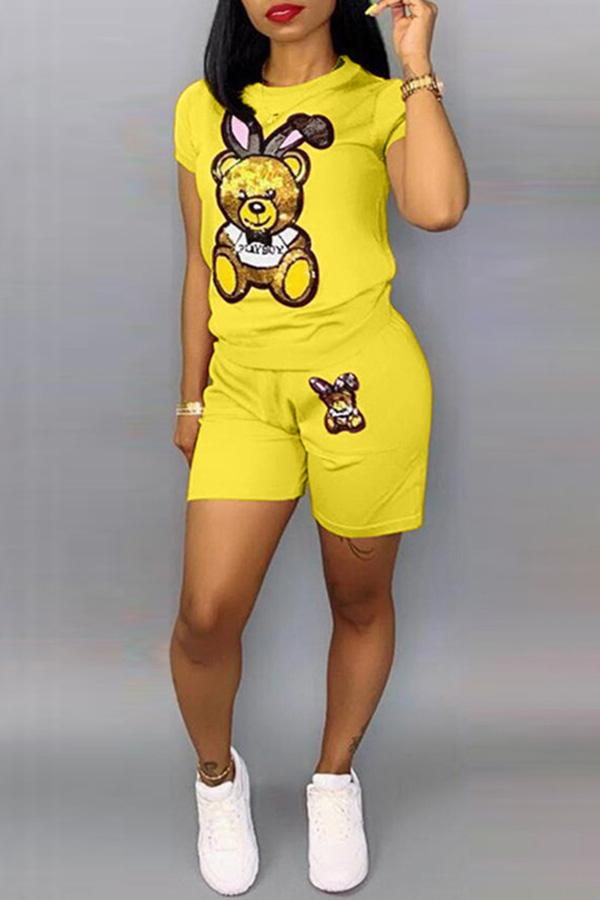 Cartoon Teddy Short Set