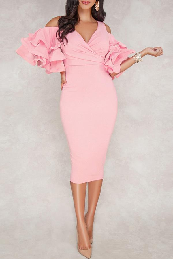 Ruffle Sleeve Wiggle Dress