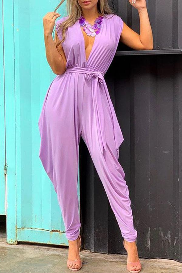 Sleeveless Sexy Deep V Pure Color Jumpsuit