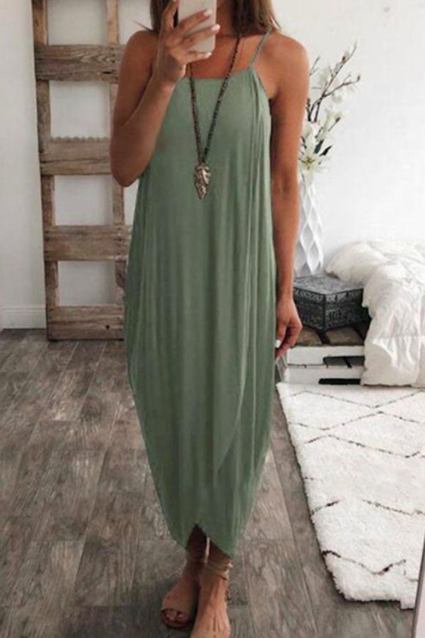 Solid Color Knitted Irregular Dress
