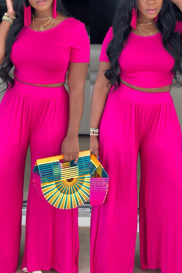 Solid Color Wide-Legged Trousers Suit