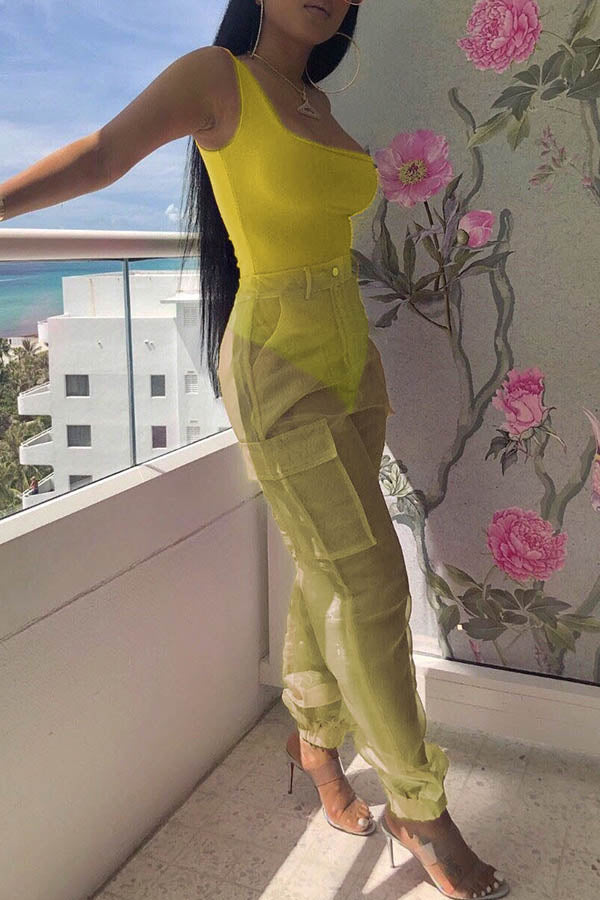 Solid Color Vest Splicing Jumpsuit