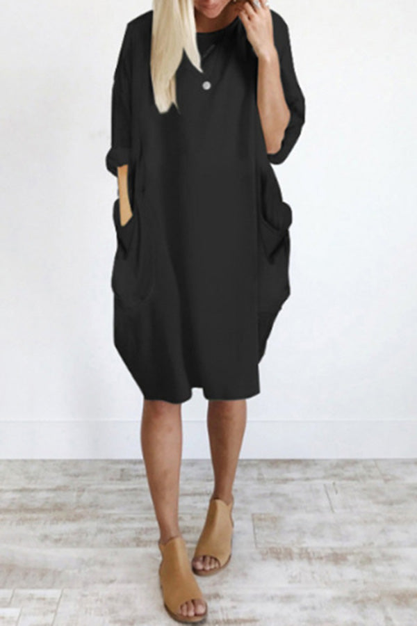 Loose Pocket Long Sleeve Dress