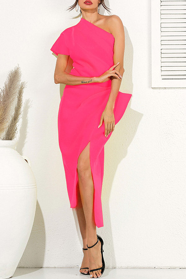 Solid Color Oblique Collar Opening Fork Dress