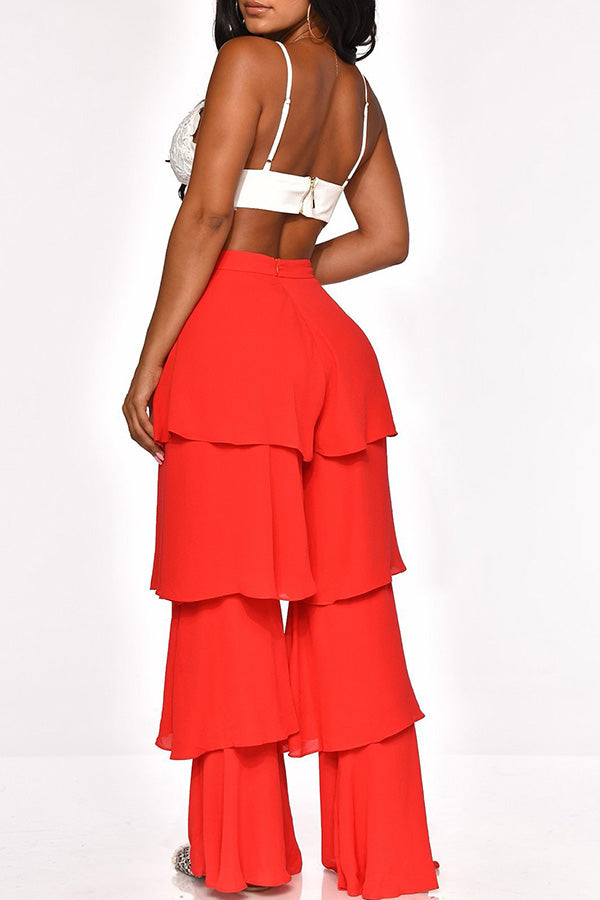 Solid Color Layered Lotus Leaf Edge Bell Pants