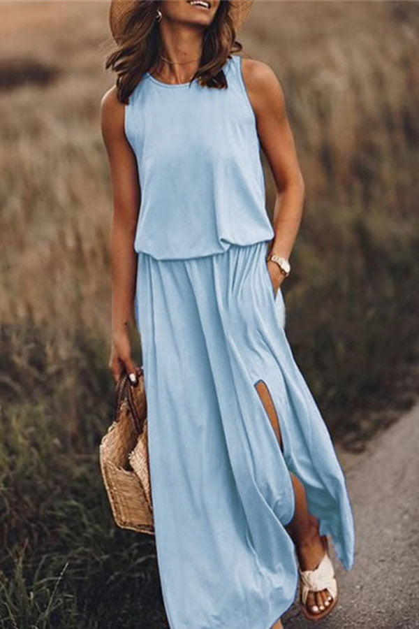 Round-Collar Sleeveless Open-Forked Dress
