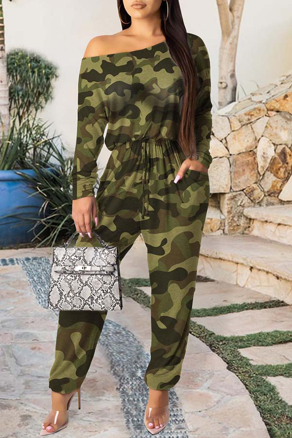 Camouflage Printed Lace-Up Jumpsuit
